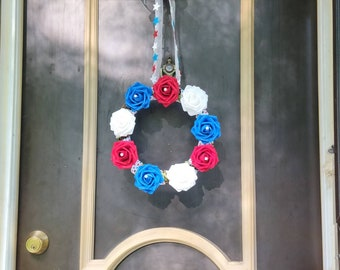 4th of July Grapevine Wreath! Artificial Roses, Pearls, and Ribbon - 1 available.