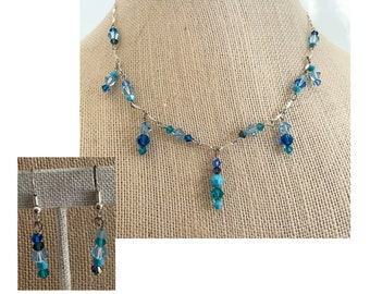 Many Blues Crystal Necklace with Matching Earrings