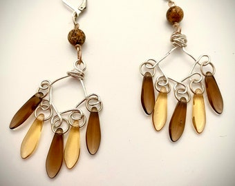 Handmade Chandelier Earrings With Brown Shades Glass Daggers and Stone Beads