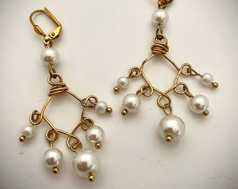 Elegant Pearl Handmade Gold Wire Chandelier Earrings, Lightweight, Pierced or Clip On Earrings