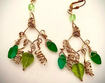 Green Leaf and Gold Coil Hand Formed Chandelier Earrings, Glass Beads ,Lever Back Earrings , Pierced or Clip On