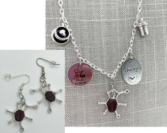 Coffee Lover Charm Necklace and Earrings with Coffee Bean Beads Caffeine Molecule Cup Rise and Shine Its Coffee Time