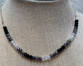 """Crystal Necklace, Black, Gray and White Crystals and Silver Chain, Shaded, 17"""" Long"""