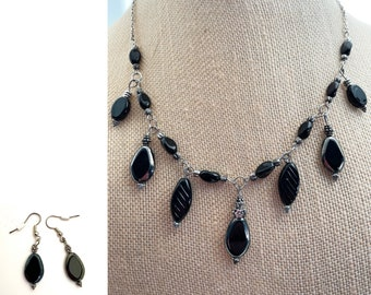 Black and Silver Dangle Necklace and Earring Set
