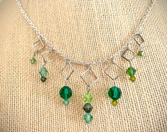 Many Greens Crystal Silver Necklace