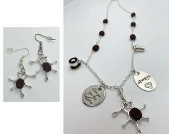 Coffee Lover Charm Necklace and Earrings with Coffee Bean Beads Caffeine Molecule Cup I Love You More Than Coffee