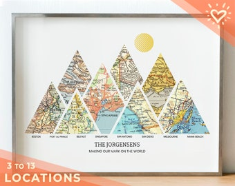 Personalized Milestones Map™ Print: 3-8 locations mountain wall art - Custom Travel Poster, Wedding Gift & Anniversary Gift for couples