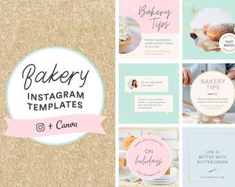 Bakery Instagram Templates | Canva | Editable Pastel Social Media Instagram Templates | Bakery Logo