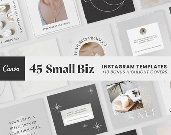 Small Business Instagram Templates | Silver Canva Template, White, Beauty, Post Templates, Instagram Highlight Covers, Social Media