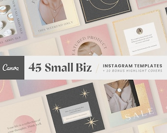 Small Business Instagram Templates | Gold Canva Template, Candle, Beauty, Fashion, Post Templates, Instagram Highlight Covers, Social Media