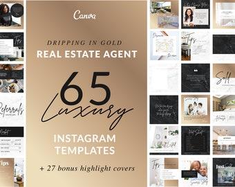 Real Estate Template Social Media | Gold, Marble, Realtor Branding, Luxury Realtor, Editable Branding, Canva