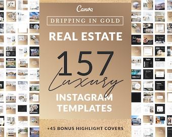 157 Champagne Gold Real Estate Agent Instagram Templates | Social Media, Editable Branding, Realtor Logo, Instagram Posts, Canva Templates