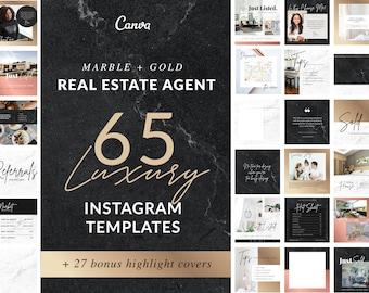 Real Estate Template Social Media | Instagram, Realtor Logo, Rose Gold Social Media, Editable Branding,  Marble and Gold, Realtor Templates