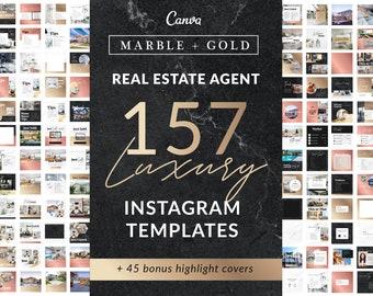 157 Gold Real Estate Agent Instagram Templates | Social Media, Editable Branding, Realtor Logo, Instagram Posts, Canva Templates