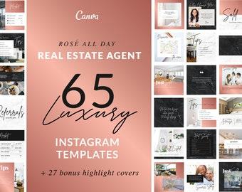 Real Estate Agent Instagram Template | Realtor, Rose Gold, Facebook Template, Canva, Editable Branding, Social Media, Rose Gold Logo