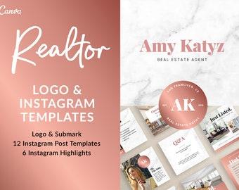 Realtor Logo, Instagram Templates & Highlight Covers | Rose Gold Real Estate Agent, Instagram Highlight Covers, Realtor Branding