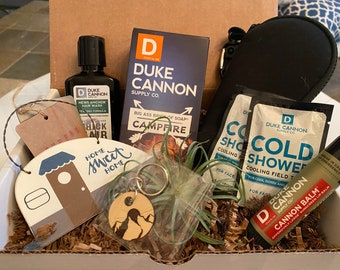 Camping Supplies Care Package. Mountain Gift. Men's Birthday. Funny Gift. COVID Pick Me Up. Campfire. Playing Cards.