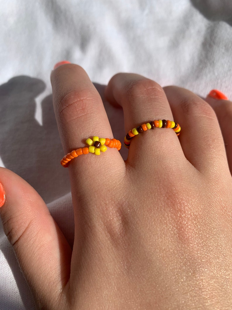 Beaded Rings Handmade Jewelry Flowery Rings Jewelry Soft Rings Adjustable Rings Rings Handmade Rings Set of Two Beaded Jewelry