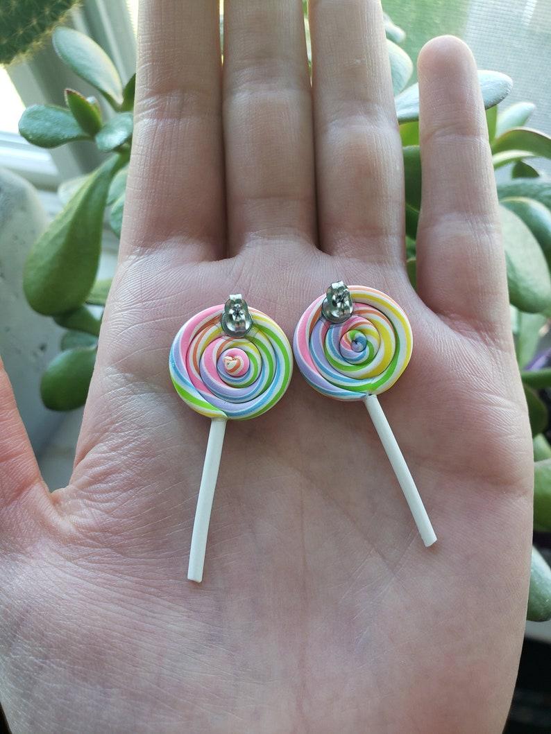 Pastel Rainbow Swirl Lollipop Earrings Dangle and Stud Options