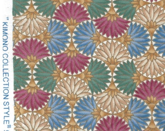 """Vintage """"Kimono Collection"""" Style 50404 of Fans : 100% Cotton Fabric - Great for masks, quilting, sewing, pillows, and other craft projects"""