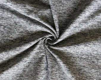 Super Soft Heather Moss T-Shirt fabric in Black and White, Excellent Choice for Yoga, T-shirt and Activewear, 175 gm, 50% 2-way stretch