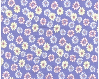 Vintage Yellow, Blue & Pink Daisys on Purple Background - 100% Cotton Fabric - Great for masks, quilting, sewing, and other craft projects