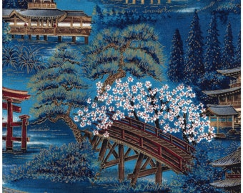 Robert Kaufman : Oriental Traditions - Screen Print 5865 - 100% Cotton Fabric - Great for masks, quilting, sewing, and other craft projects