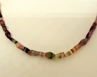 Rainbow Faceted Nuggets of Natural Stone 20.5 Necklace  Variegated Colors  Hand Crafted