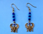 Egyptian Theme Earrings Horus in Falcon Form Holding Ankhs or Key of Life 18K. Gold Tone Genuine Beads