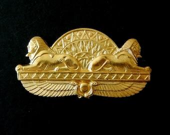 "Vintage Brass Stamping/ Egyptian Revival Design / Sphinx/ Isis Wings/ Lotus Flower  2"" x 1"""