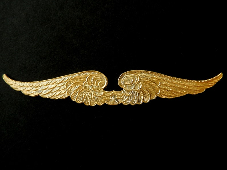 Vintage Brass Stamping  Wings with Ornate details  3 12/' x 58