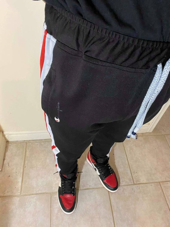 Black Champion Trackpants With Red/White Stripes - image 2