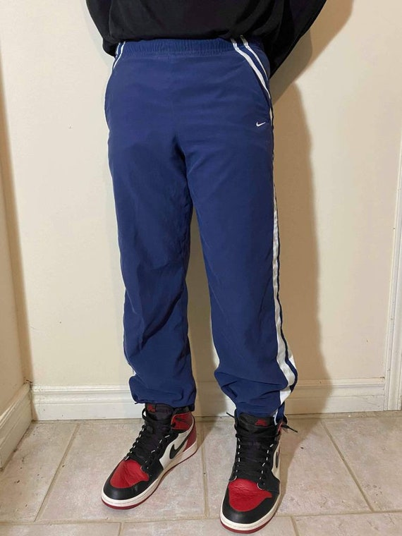 Navy Nike Trackpants With White Stripes