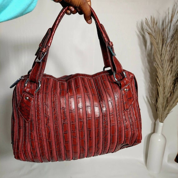 Burgundy Vintage Weekender Bag / Large Shoulder Ba