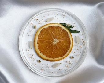 Orange Slice - Tray - Jewelry Tray - Trinket Tray - Coaster - Pressed Flowers - Gold Flake