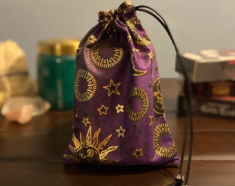 Cotton Fabric Tarot Print Tarot Patterned Mini Drawstring Bag and Drawstring Backpack