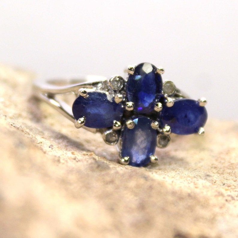 Natural Blue Sapphire Ring,Sterling Silver Engagement Rings,Natural Diamond Ring,925 Sterling Silver,Oval Cut Blue Sapphire Ring