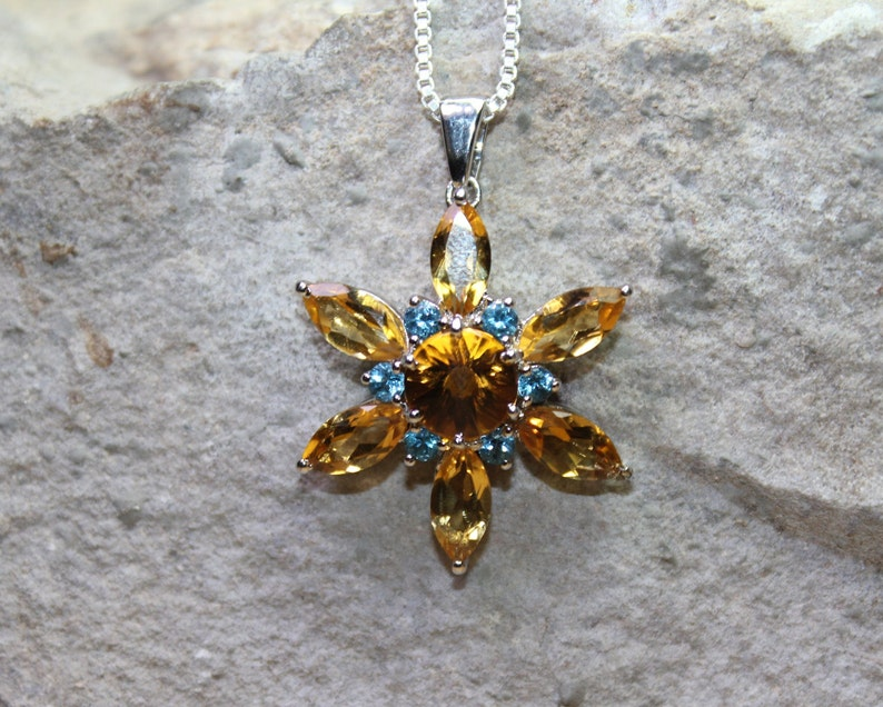 Sterling Silver Pendant With Natural Citrine And Blue Topaz Gemstone,Citrine Pendant,BT Pendant 925 Sterling Silver Pendants,31mmX31mm long