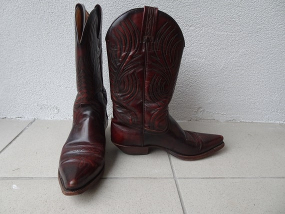 Tony Mora Cowboy Boots Vintage 7.5 Brown/Red
