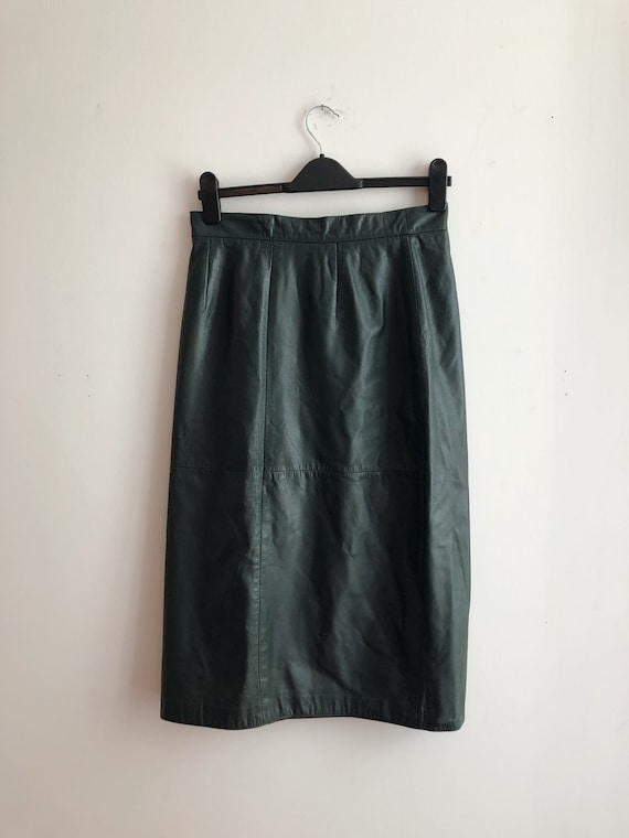 Vintage Green Leather Skirt