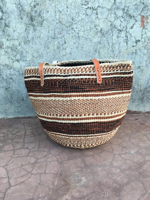 African Woven Market Handbag Summer Bag SALE Sisal Woven Basket Bag African Purse With Leather Handles Kenyan Kiondo Sisal Basket