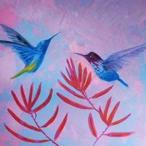 Hummingbird Painting Original Art Bird Painting 10x8 By Sangosquad