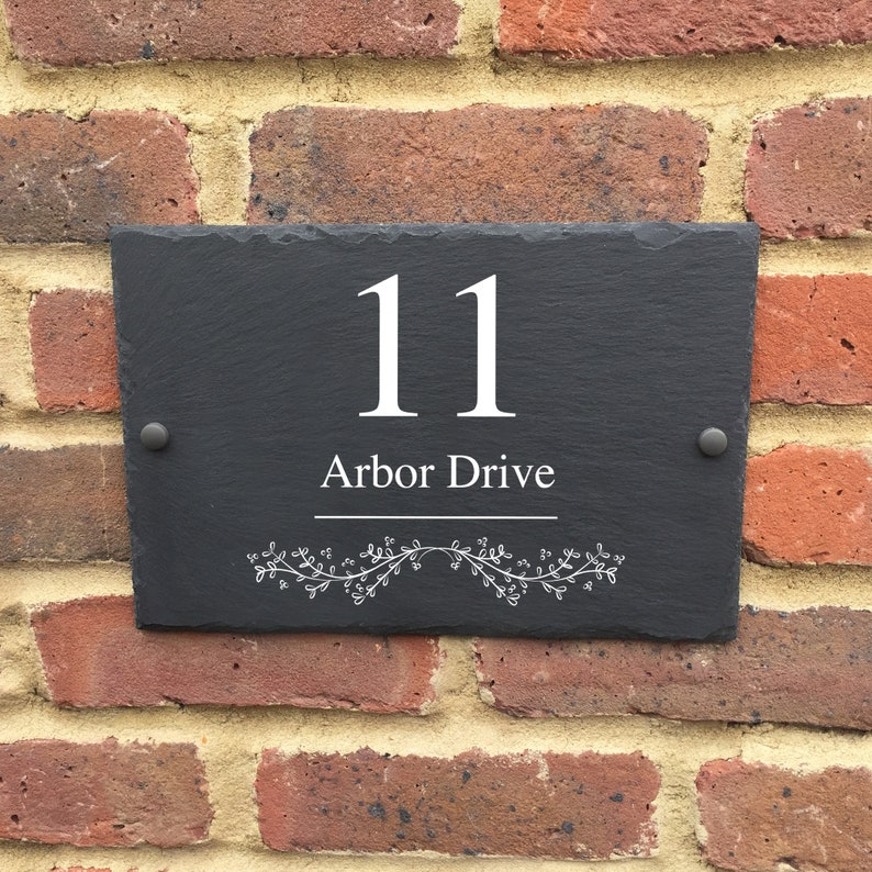 Rustic slate house sign farmhouse plaque door number