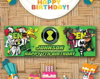 10x6.5ft Vinyl Birthday Backdrop Banner for Boys Ben 10 Party Supplies Photo Booth Background Table Banner Photo Studio Photography Props MLYZY025 for Party Decoration Birthday YouTube Videos School P
