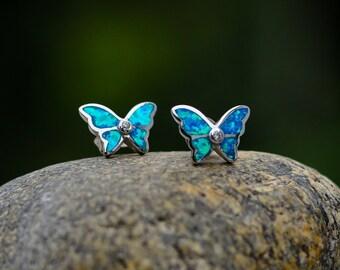 Petite Butterfly Earrings Vintage Monarch Butterfly Earrings Gift Dainty Blue Butterfly Enamel Stud Earrings Silver Bridesmaid Earrings