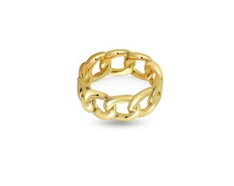 Gold Chain Rings Gold Signet Ring Gold Statement Ring Gold Link Ring Gold Cuban Chain Chunky Ring Gold Stacking Ring