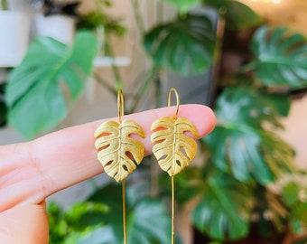14K Gold Monstera Adansonii Earrings   Monstera leaf earring    14K Gold Leaf Earring   Monstera Plant Jewelry   Mother Day Gift