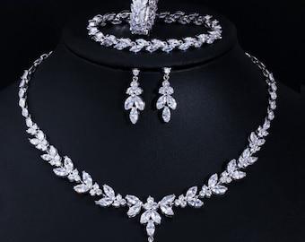 Bridal Necklace Set   Teardrop Silver Wedding Necklace Earrings Bracelet Ring Set   CZ Wedding Necklace Set   Crystal Bridal Set.
