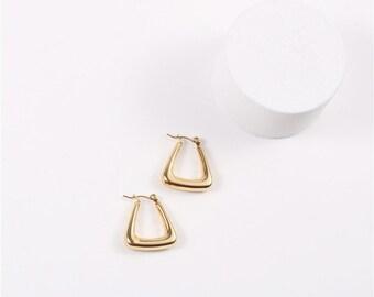 18k Gold Filled Hollow Hoop Earrings | Gold Geometric Hoops | Lightweight Hoops For Women | Triangle Hoops