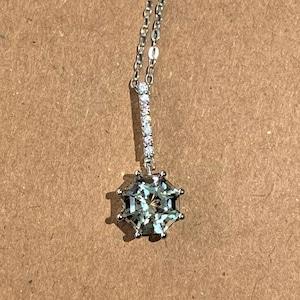 Rhodium Plated Silver Prasiolite FARA Gem 2.25ct Octagon Necklace Classic Minimalist Fine Jewelry